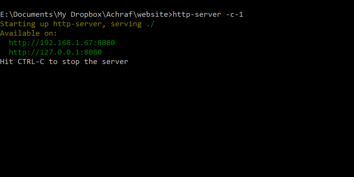 http-server -c-1 in Windows command line