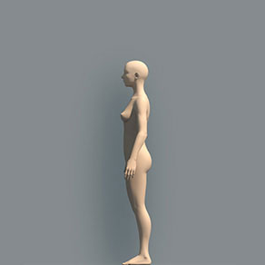 naked 3D human body seen from the left side