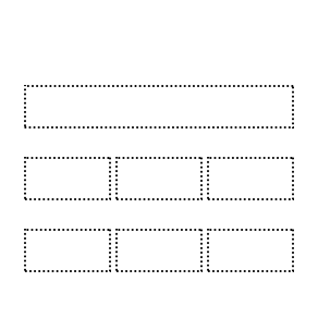 3 navigation cards with dotted borders